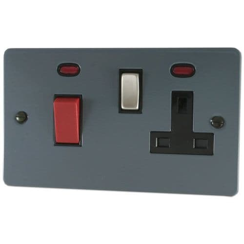 G&H FDG329 Flat Plate Dark Grey 45 Amp DP Cooker Switch & 13A Switched Socket